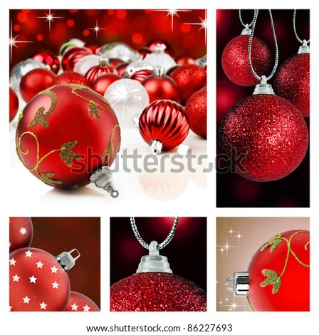 Collage of red  christmas decorations on different backgrounds - stock photo