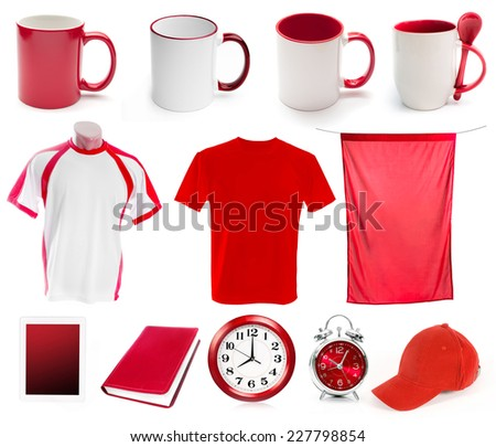 collage of red objects for corporate style isolated - stock photo