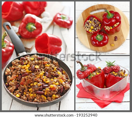 collage of red peppers stuffed with meat and vegetables - stock photo
