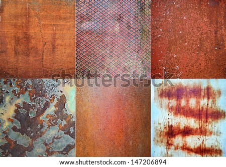 Collage of red rusted metal background - stock photo