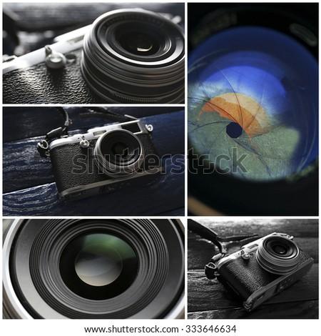 Collage of retro camera - stock photo