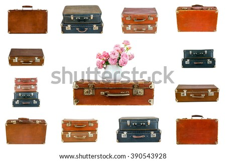 Collage of retro travel suitcases isolated on white. Set of old suitcases. Vintage baggage. Vintage travel bags. Pink flowers in jug on vintage suitcase. Pink roses. Shabby chic. Rustic concept. - stock photo