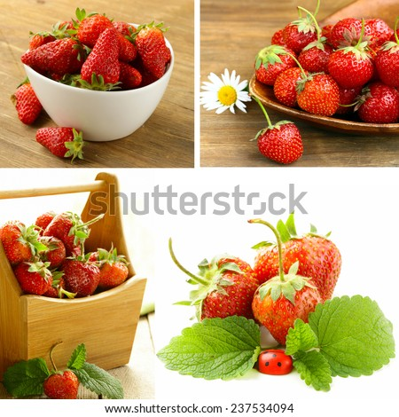 collage of ripe juicy organic berries strawberry - stock photo