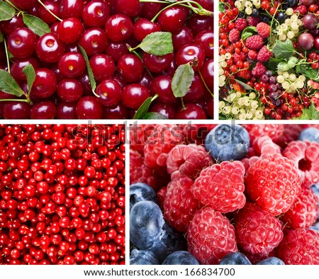 Collage of Ripe Sweet Red Berries  - stock photo