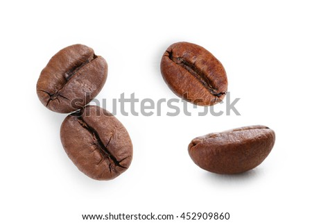 Collage of Roasted coffee bean isolated on a white