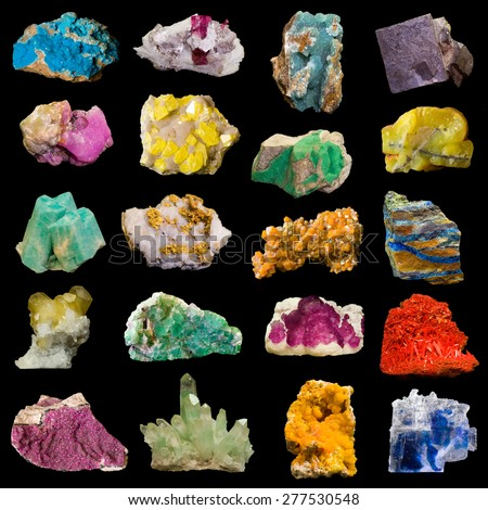 Collage of rocks and minerals isolated on black. The minerals are named in the keywords. - stock photo