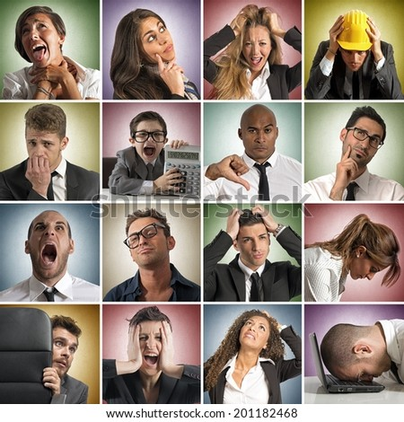 Collage of sadness face expression of people - stock photo