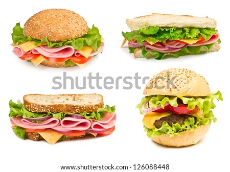 Collage of sandwiches with ham and vegetables isolated on a white background - stock photo