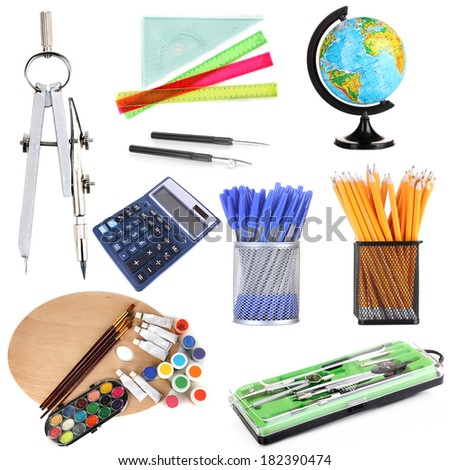 Collage of school supplies isolated on white - stock photo