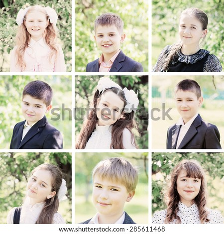 Collage of schoolchildren outdoor - stock photo