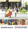 Collage of schoolgirls with her mother and education tools - stock photo