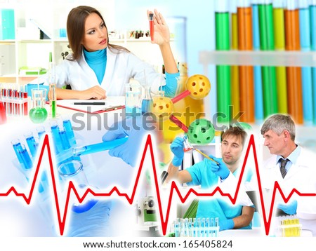 Collage of scientists and laboratory experiments - stock photo