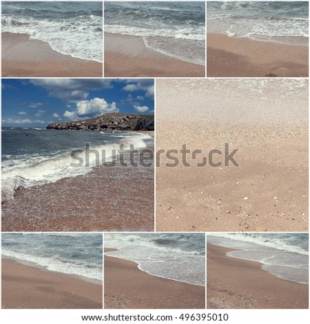 Collage of sea surf images. Summertime. Wild nature. Toned images a lot of stace for text.