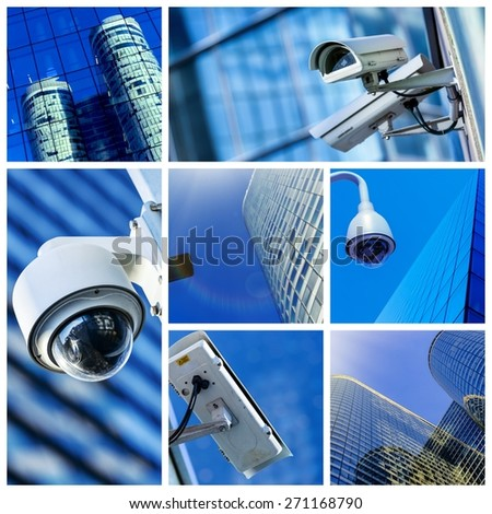 collage of security camera and urban video - stock photo