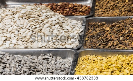 Collage of seeds  a middle east market - stock photo