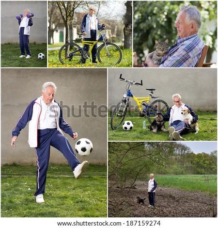 Collage of senior man enjoying active retirement - stock photo