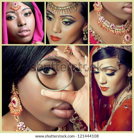 Collage of several asian fashion and beauty images - stock photo