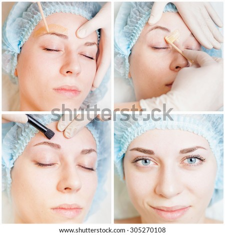 Collage of several photos of beautiful woman in spa salon receiving epilation or correction eyebrow using sugar - sugaring. You can see her smooth eyebrow after hair removal - stock photo