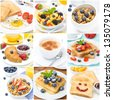 collage of several types of breakfast - stock photo