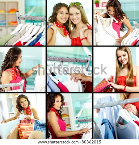 Collage of shoppers and clothes on hangers in clothing department - stock photo