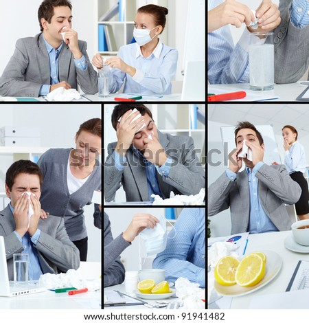 Collage of sick businessman with tissue and his colleague helping him treat illness in office - stock photo