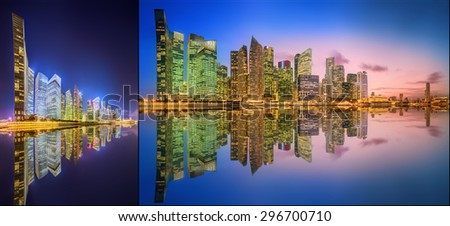 Collage of Singapore Skyline and view of skyscrapers on Marina Bay