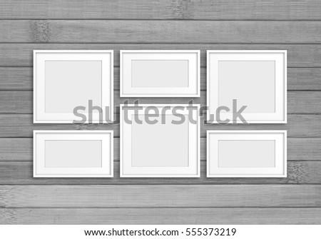 Collage Six White Frames On Grey Stock Photo & Image (Royalty-Free ...