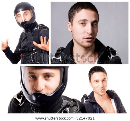Collage of skydiver man portraits. - stock photo