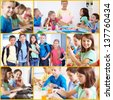 Collage of smart and friendly pupils in school - stock photo