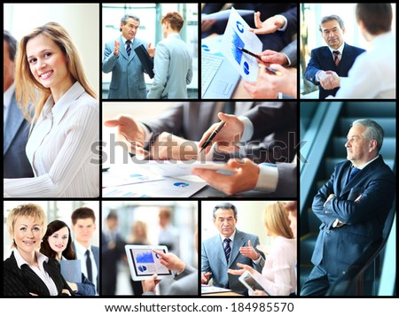 Collage of smart business people at work and hands of companions - stock photo
