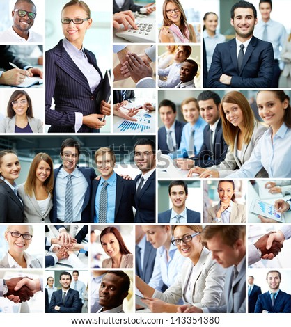Collage of smart businesspeople and hands of co-workers - stock photo