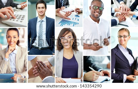 Collage of smart businesspeople at work and hands of companions - stock photo