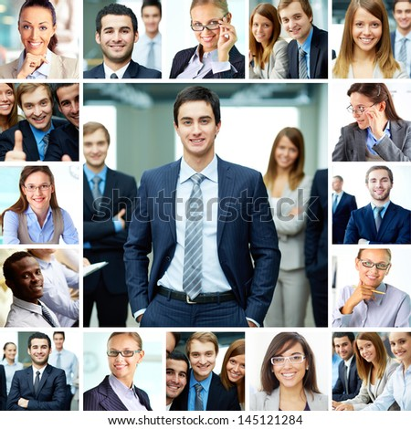 Collage of smart businesspeople in formalwear