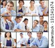 Collage of smart students studying in college - stock photo