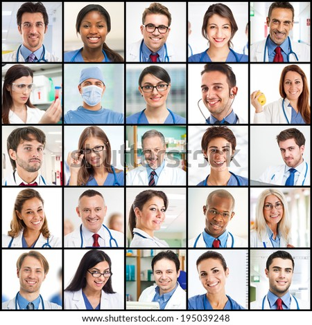 Collage of smiling doctor faces - stock photo