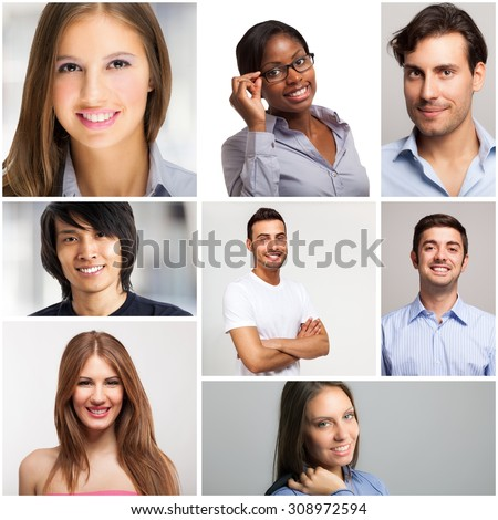 Collage of smiling people - stock photo