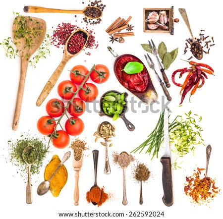 collage of spices on white background - stock photo