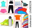 Collage of sportswear - stock photo
