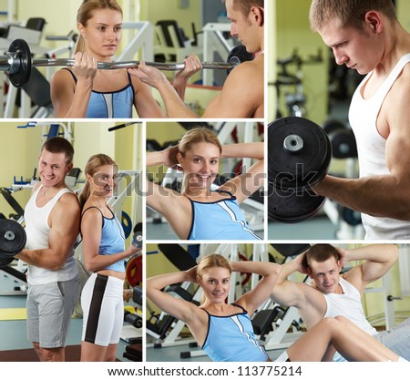 Collage of sporty people in gym - stock photo