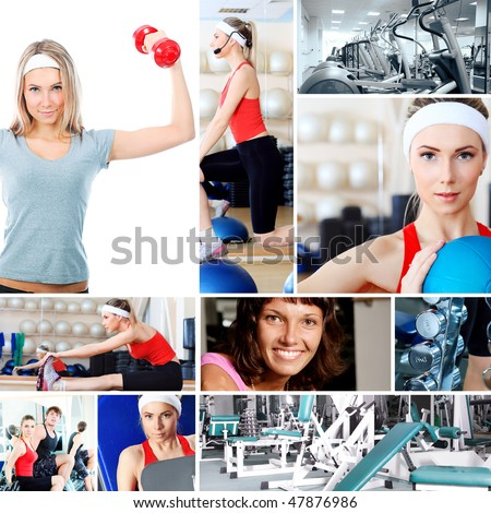 Collage of sporty pictures: people, equipment.