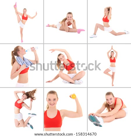 collage of sporty pictures: young attractive woman doing fitness isolated on white background - stock photo