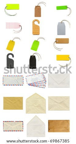 Collage of stationery items including labels, tags, envelopes and postcards