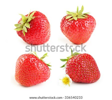Collage of strawberries berry isolated on white