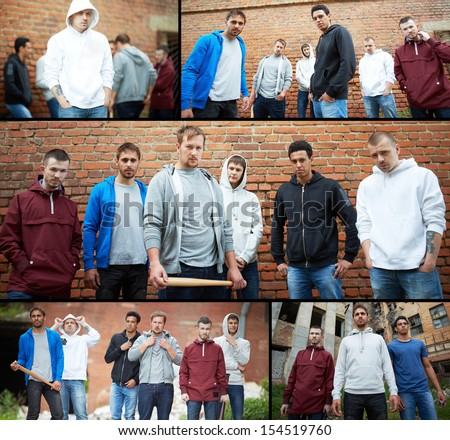 Collage of street hooligans or rappers - stock photo