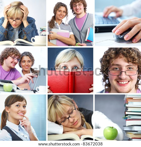 Collage of students working in college