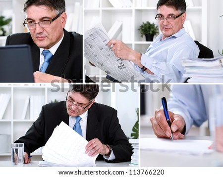 Collage of  success businessman in office - stock photo