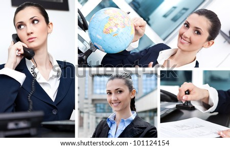 Collage of  success businesswoman in office - stock photo
