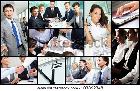 Collage of successful business people during work