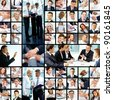 Collage of successful businesspeople at work - stock photo