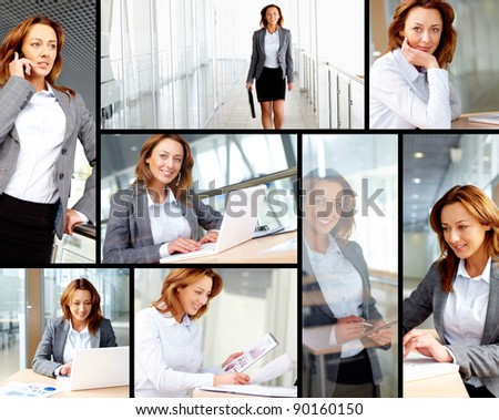 Collage of successful businesswoman working in office